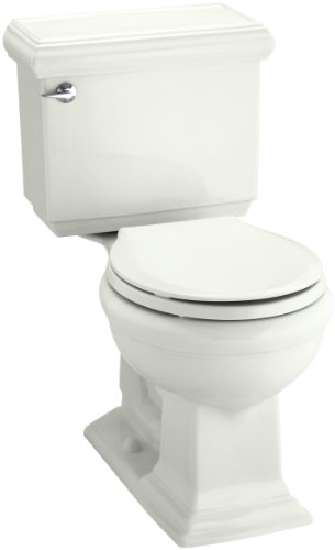 KOHLER 3986-U-NY Memoirs Classic Comfort Height Two-Piece Round-Front 1.28 Gpf Toilet with Aquapiston Flush Technology, Insuliner Tank Liner and Left-Hand Trip Lever, Dune