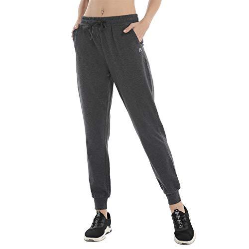 FEDTOSING Pantalones de deporte para mujer, de algodón, para gimnasio, informal, yoga, entrenamiento, tiempo libre, con bolsillos gris XXL