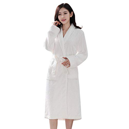 VJGOAL Invierno Mujer Moda Casual Bata de Noche Alargado Albornoz Empalme Ropa para el hogar Bata de baño Abrigo de túnica de Manga Larga Pijamas Bata(Medium,Blanco)