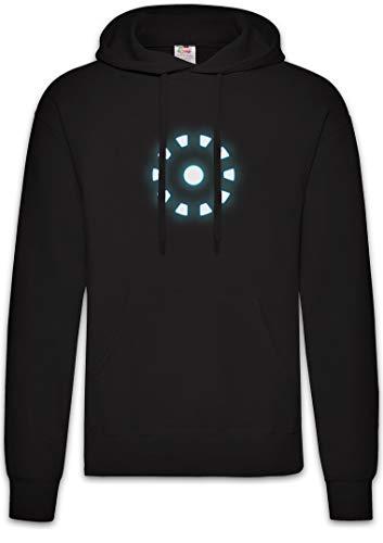 Urban Backwoods ARC Reactor I Hoodie Sudadera con Capucha Sweatshirt Negro Talla L