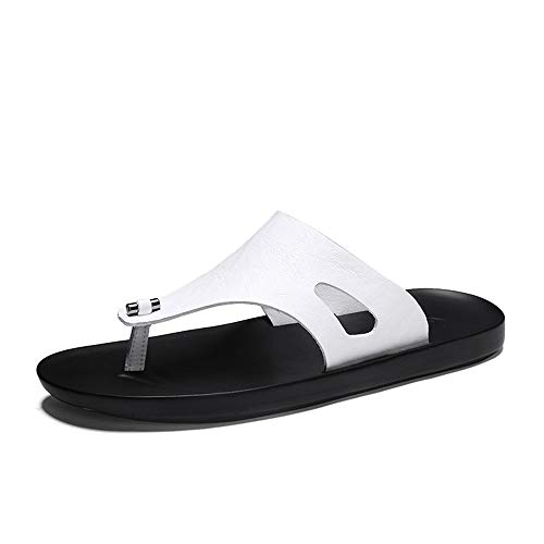 SUSHANCANGLONG Sandalia de sandalia atlética para hombre con flip-flop Comfort Casual Thong Sandalias de cuero de microfibra interior y al aire libre (Color : White, Size : 43 EU)