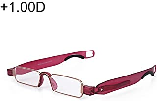 WTYD Clothing and Outdoor Accessories Portable Folding 360 Degree Rotation Presbyopic Reading Glasses with Pen Hanging, 1.00D(Black) Outdoor Equipment (Color : Wine Red)