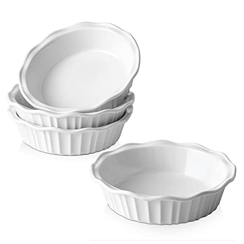 LIFVER Ceramic Pie Pans for Baking 6 Inch, 4 Pack Pie Dish, Pie Plate for Dessert Kitchen, Round Baking Dish Pan for Dinner, Oven, Freezer, & Microwave Safe, 11.6 Ounce Deep Dish Pie Pan, White
