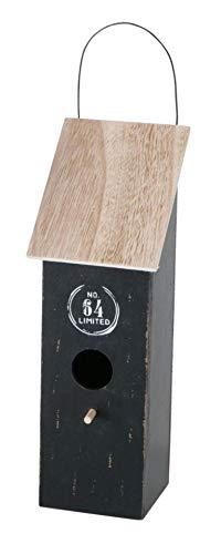 CasaJame Pajarera de madera para balcón y jardín, nido, casa para pájaros, casa para pájaros, pajarera, negro con sello impreso 10 x 10 x 30 cm