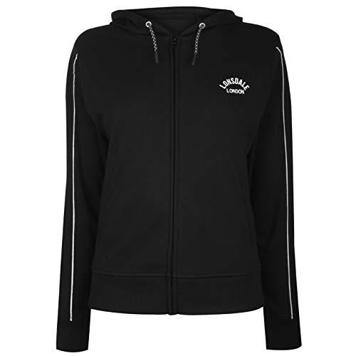 Lonsdale Damen Kapuzensweatjacke Hoodie mit 2 Taschen Schwarz M