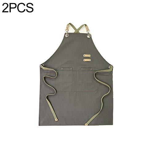 XGQ 2 PCS Barista Delantal Florista Peluquería Restaurante Bar Ropa de Trabajo Un tamaño (Brown) (Color : Gray)