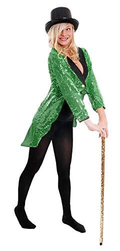 I LOVE FANCY DRESS LTD Damen GRÜN Pailletten SCHWANZMANTEL KOSTÜM KOSTÜM ZUBEHÖR Tanz Show BLASS GRÜN SCHWANZMANTEL Unisex Outfit (MEDIUM EU 44/46)