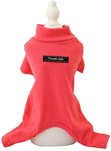 ZDZDY Zachte katoenen hondenpyjama's voor alle seizoenen, Solide Pet Bottoming Jumpsuit voor kleine hond kat puppy (rood-S)