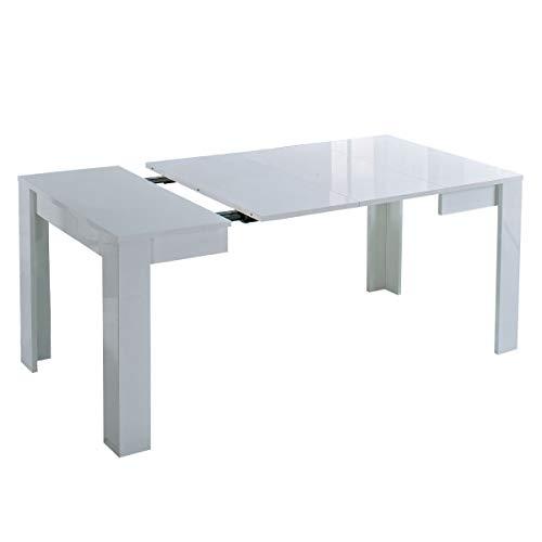 MF Tavolo da Pranzo Allungabile Idea Laccato Lucido, 90 x 90 x h. 77 cm (Bianco)
