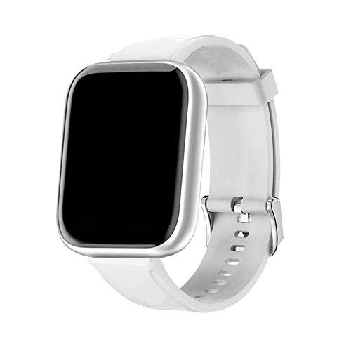 HCHL Reloj Inteligente Rosa con Monitor de frecuencia cardíaca para Hombre, rastreador de Salud y sueño para Hombre, Reloj Inteligente Deportivo para Mujer para Android iOS (Color : Silica White)