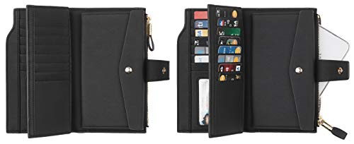 Travelambo Womens RFID Blocking Large Capacity Luxury Waxed Genuine Leather Clutch Wallet Multi Card Organizer 4