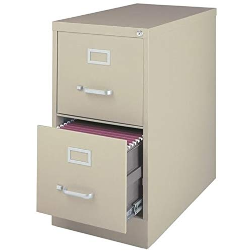 "Pemberly Row Commerical Grade 25"" Deep 2 Drawer Letter Vertical File Cabinet in Putty"