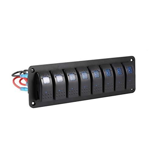 PREPP Barco Marino a Prueba de Agua Caravan RV Rocker Interruptor Panel LED Interruptor de Circuito 12V 8 Interruptores Protección de sobrecarga