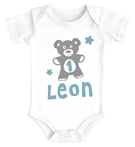 SpecialMe® Babybody mit Namen und Zahl zum Geburtstag Teddy-Bär personalisierbare Baby Geschenke Bio-Baumwolle Jungen 1 Jahr weiß 12-18 Monate