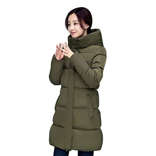 Koreaanse Stijl Vrouwen Jas Mode Match Hooded Donsjack Katoen Gewatteerde Dikke Warme Jas Midden Lange Winter Uitloper Coatarmy groen