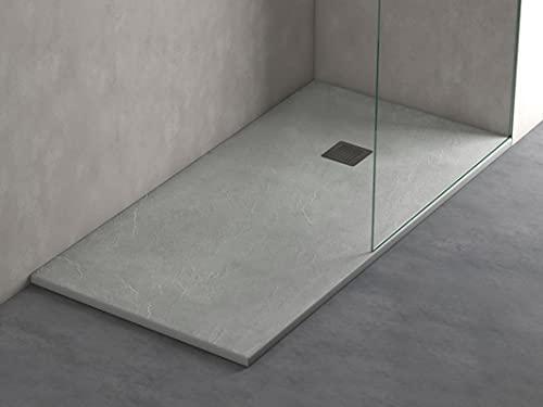 Plato de ducha de resina liso efecto pizarra, extrapano 3cm, incluye válvula gran caudal, antideslizante grado C-3.4 colores disponibles, todas la medidas disponibles, fácil corte