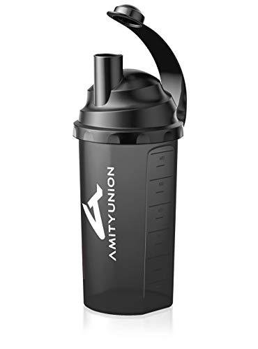 Protein Shaker 800 ml mit Sieb - BPA frei & Auslaufsicher aus Europa mit Skala für cremige Whey Proteinpulver Shakes, Fitness Becher Classic für Gym Isolate, BCAA Protein Konzentrate in Schwarz Smoke