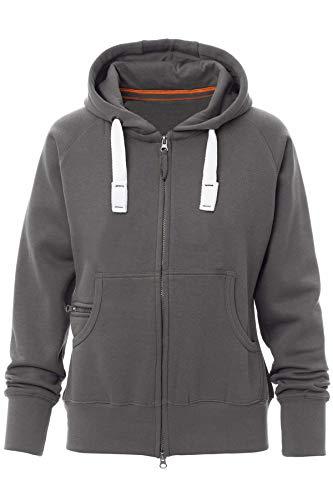 Happy Clothing Damen Sweatjacke mit Kapuze Zip Hoodie Kapuzenjacke Basic Einfarbig S M L, Größe:XL, Farbe:Anthrazit