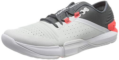 Under Armour UA TriBase Reign, Zapatillas Deportivas para Interior para Hombre, Gris (Pitch Gray/Halo Gray/Beta Red (107) 107), 42 EU
