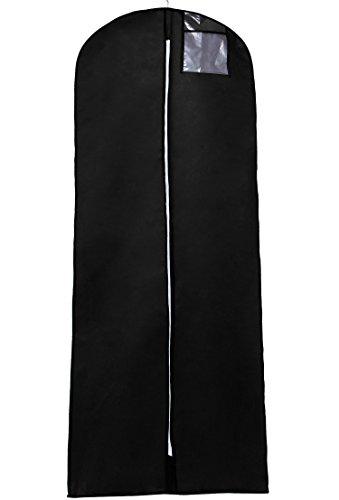 TUKA Transpirable 180 cm x 65 cm Bolsa de Ropa Protector para Vestidos, Trajes, Abrigos. - Cierre de Cremallera - Bolsillo para Accesorios, Funda de Ropa, Negro, TKB1003 Black