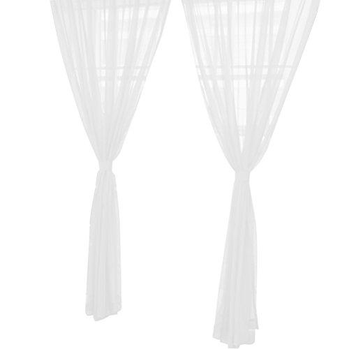 VORCOOL Transparente Voile Vorhänge Gardine Schal Dekoschal für Schlafzimmer Wohnzimmer Blumen Druck 100x200cm, Weiß