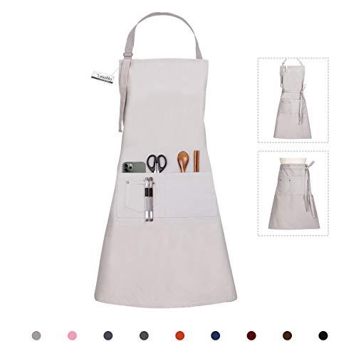 LessMo Delantal, 100% algodn de Cocina Delantal con Correa para el Cuello Ajustable, Barbacoa de Calidad Profesional Delantal, 70 x 85 cm, Gris
