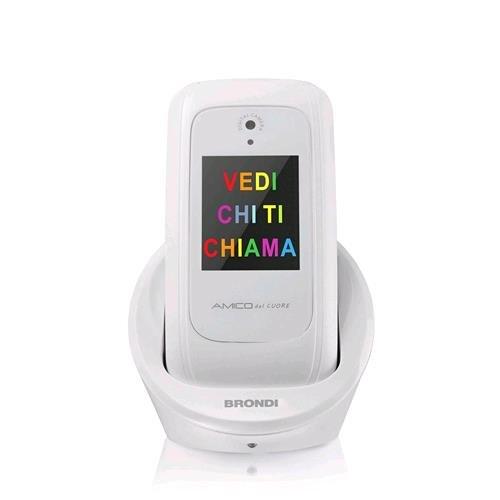 Brondi Amico del Cuore, Telefono cellulare GSM per anziani con tasti grandi, tasto SOS e funzione da remoto, dual SIM, volume alto, Bianco