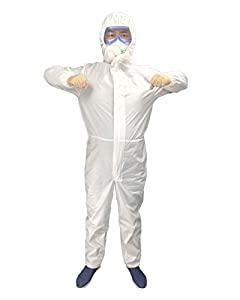 Disposable Medical Protective Coverall Suit Long Front Zipper Elastic Waistband & Cuffs Isolation Suit/1PC M