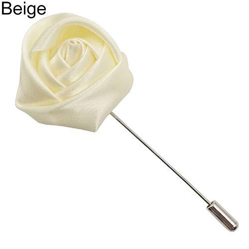 Le yi Wang You Herren Handgemachte Tuch Rose Blume Brosche Perfekt Für Wolle Anzug Frauen Männer Rose Blume Revers Brosche Anzug Smoking Hochzeit Metall Boutonniere Beige