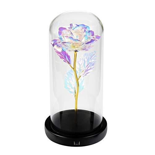 LCCL Schönheit und das Biest Rose Kit, Rose und LED-Licht in Glaskuppel auf Holzsockel für Hauptdekor-Geburtstags-Hochzeits-Valentinstag (Bunt Gold foil Rose)