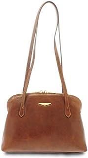 GIUDI ® - Borsa Donna classica in pelle vacchetta, vera pelle, Made in Italy, borsa tracolla. (Marrone)