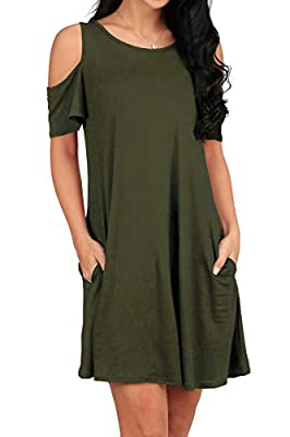077258b98fdc9 OFEEFAN Women s Cold Shoulder Tunic Top T-shirt Swing Dress With Pockets  Material 94% Cotton