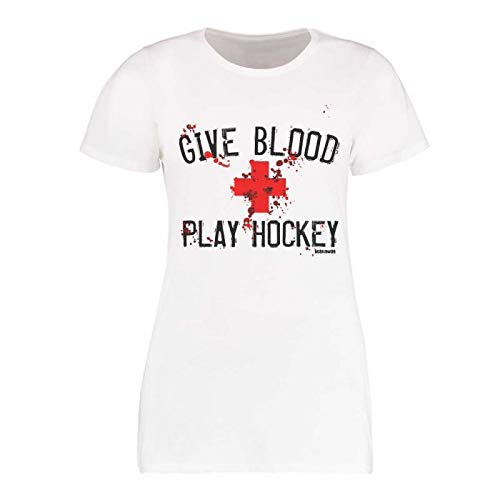 Scallywag® Eishockey T-Shirt Frauen Give Blood Play Hockey I Größen XS - XXL I A BRAYCE® Collaboration (Eishockey für Frauen) (S)