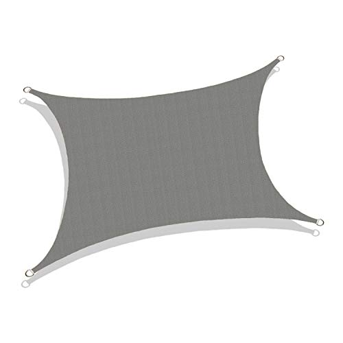 Sun Shade Sail Rectangle Canopy - UV Resistant Sun Shade for Pergola, Swimming Pool, Patio Garden, Outdoor Activities with Durable Fabric - Customization Available (8' x 12', Grey)
