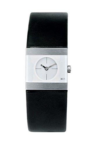 Xen Damenuhr Edelstahl Silber Lederband Schwarz Quarz Analog XQ0074-1