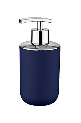 Wenko Seifenspender Brasil, nachfüllbarer Seifendosierer für Badezimmer und Küche, aus bruchsicherem Kunststoff, Fassungsvermögen: 320 ml, 7,3 x 16,5 x 9 cm, Dunkelblau