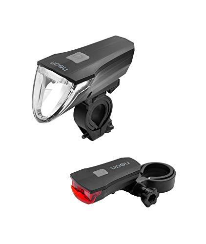 nean Fahrrad Beleuchtungsset mit Lichtautomatik, Bremslicht, 60 LUX CREE LED, 3 Helligkeitsstufen, Akkubetrieb, StVZO-zugelassen