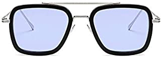Sunglasses Square Metal Frame for Men Women Sunglasses Classic Downey Iron Man Tony Stark(Silver frame light blue mirror)