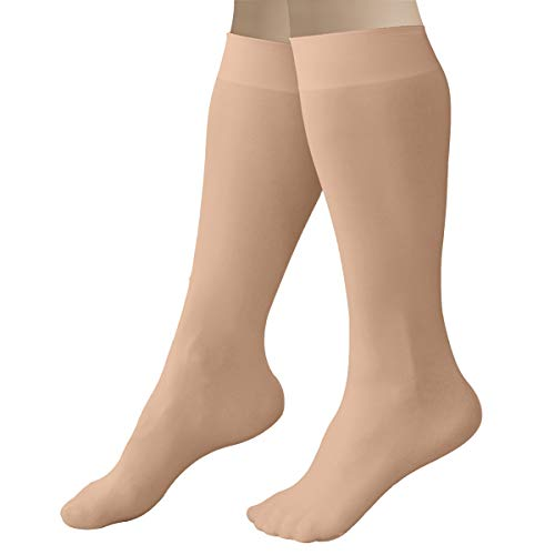 CRS Cross Figure Skating Socks (2 Pair) Knee High Tights for Ice Skates, Footed Skate Socks, Dance Tights (Twizzle Tan)