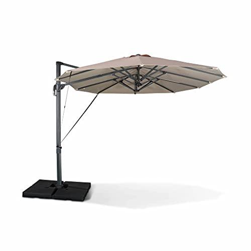 Parasol déporté Ovale. Double. 2x4m – Ciotat – Beige – Parasol à mât déporté. Grande Taille. orientable et manivelle d'Ouverture