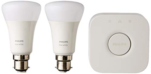 Philips Hue White Starter Kit: Smart Bulb Twin Pack LED [B22 Bayonet Cap] Including Bridge, Works with Alexa, Google Assistant and Apple HomeKit