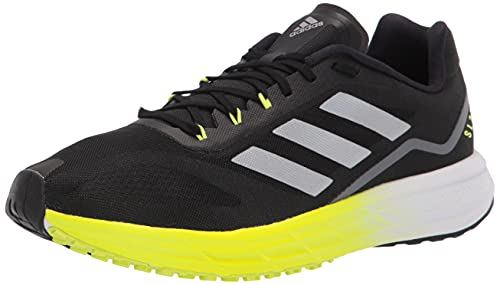 adidas Men's SL20 Running Shoe, Black/Black/Solar Yellow, 10