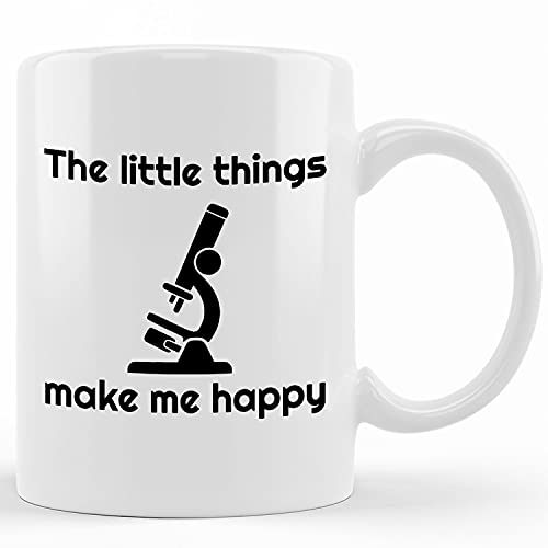 Personalized Funny Biology Mug The Little Things Make Me Happy Biologists Microscope Student Gift Microbiology Gift Molecular Biology Humor, Ceramic Novelty Coffee Mug, Tea Cup, Gift Present For Birt
