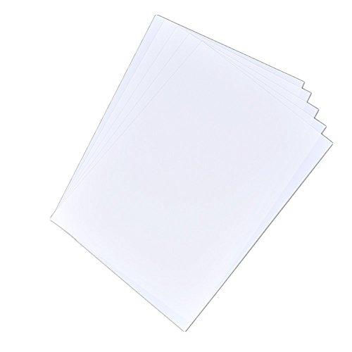 YNuth Schrumpffolie für Tintenstrahldrucker, A4-Format, Kunststoffschrumpffolie, 21 x 29,7 cm, halbtransparent, 5er-Pack, weiß, A4