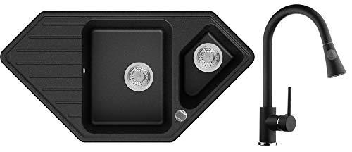 Granitspüle Graphit 97 x 49 cm, Spülbecken + Küchenarmatur + Siphon Automatisch, Eckspüle ab 80er Unterschrank in 5 Farben mit Armatur Varianten, Küchenspüle von Primagran