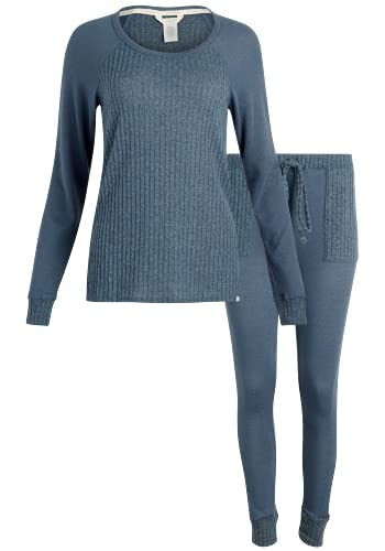 Lucky Brand Women's Pajamas - 2 Piece Ribbed Hacci Sleepwear Set (Size: S-XL), Size Medium, Blue Heather
