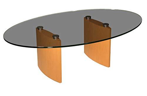 tischdesign24 ** WERKS-ABVERKAUF ** Couchtisch modern oval mit Parsolglasplatte Hochwertiges konvexes Gestell in Buche Echtholz furniert Größe: 125x80cm oval, Höhe: 46cm
