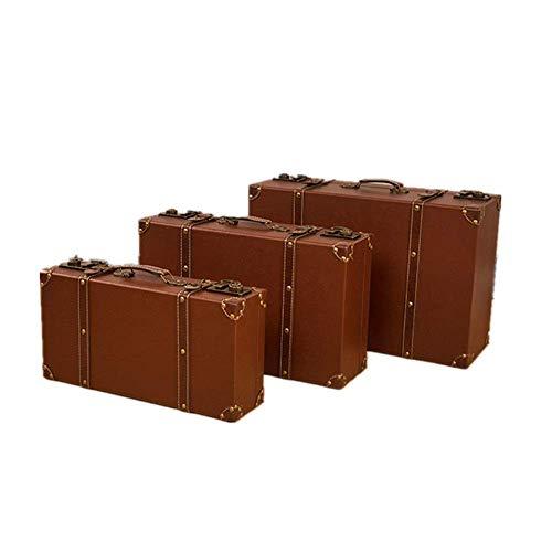 Goed voor de hersenen CHNWJ-home decoratieve houten koffer Set van 3 Vintage koffer Trunk borst antieke kleding opbergdoos schatkist koffer Toy Box, deken Box(Maat: groot+midden+klein)