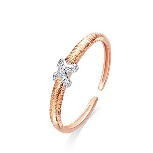 AueDsa Anillo Mujer Oro Rosa Anillos de Oro Rosa Mujer 18 K Puro Redondo con Cruzado Diamante Blanco 0.033ct Anillo Talla 15