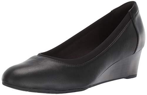 Clarks Women's Mallory Berry Platform, Black Leather, 5 M US